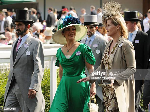 Prince Mohammed Bin Rashed Al Maktoum Princess Haya bint Al Hussein and Sophie Countess Of Wessex attends Royal Ascot at Ascot Racecourse on June 17...