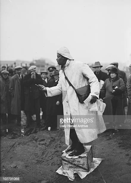 Prince Monolulu performing on a soap box at Epsom Races 20 April 1931 Prince Monolulu was a popular figure at British racecourses in the 1930s and...