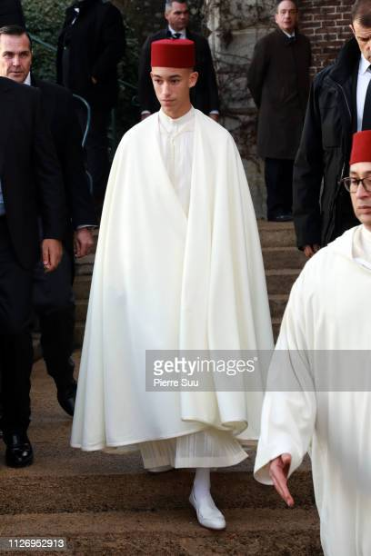 Prince Moulay El Hassan of Morocco attends tthe funeral of Prince Henri Of Orleans Count Of Paris at Chapelle Royale on February 02 2019 in Dreux...