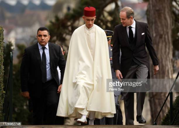 Prince Moulay Hassan of Morocco and Prince Jean D'Orleans, Duke of Vendôme attends tthe funeral of Prince Henri Of Orleans, Count Of Paris at...