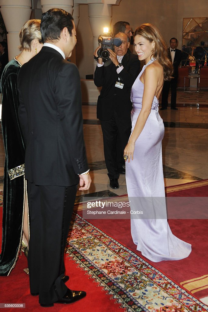 HRH Prince Moulay Rachid meets Eva Mendes during the Marrakech 10th Film Festival.