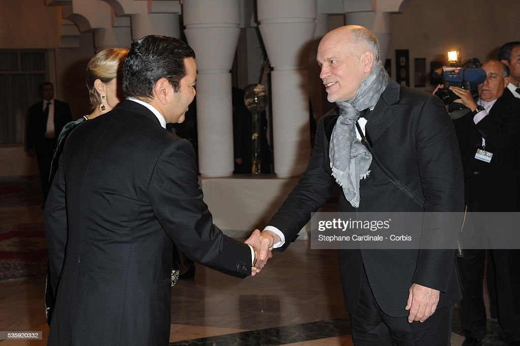HRH Prince Moulay Rachid meets John Malkovich during the Marrakech 10th Film Festival.