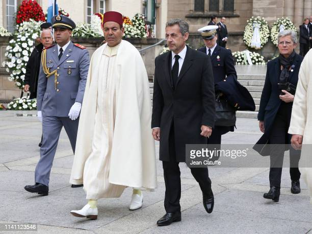 Prince Moulay Rachid of Morocco former French President Nicolas Sarkozy leave the funerals of Grand Duke Jean of Luxembourg at Cathedrale NotreDame...