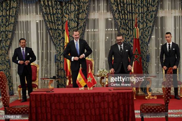 Prince Moulay Rachid of Morocco King Felipe VI of Spain King King Mohammed VI of Morocco and Prince Moulay Hassan of Morocco attends the signing of...