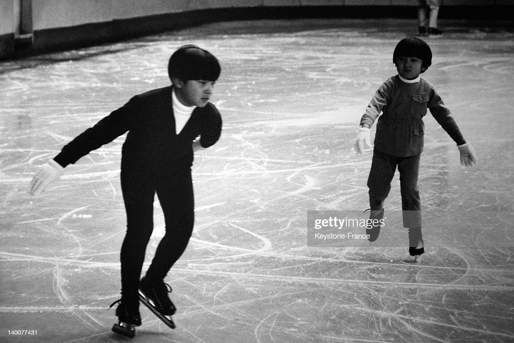 Japanese Crown Princes Naruhito And Akishino Ice Skating In The Seventies : ニュース写真