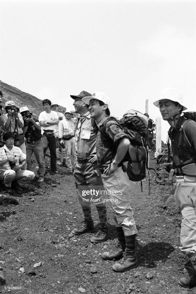 Prince Naruhito climbs Mt  Fuji on August 1, 1988 in Oyama, Shizuoka