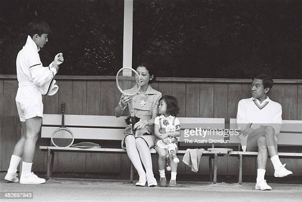 Prince Naruhito Crown Princess Michiko Princess Sayako and Crown Prince Akihito enjoy tennis at a tennis court on August 24 1973 in Karuizawa Nagano...
