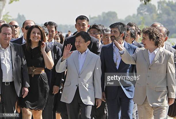 Prince Naruhito of Japan arrives to plant a cherry tree in Coria del Rio on June 14 2013 in Sevilla Spain Japanese Crown Prince Naruhito is on a...