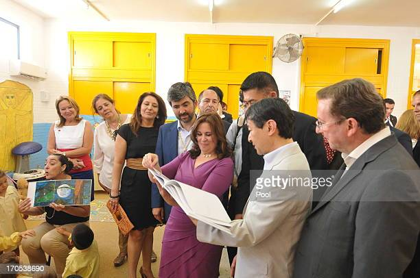 Prince Naruhito of Japan visits students in a classroom at Vicente Neria in Coria del Rio on June 14 2013 in Sevilla Spain Japanese Crown Prince...