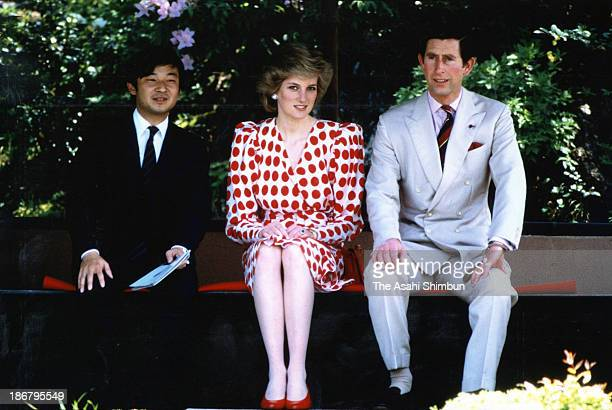 Prince Naruhito Princess of Wales Princess Diana and Prince of Wales Prince Charles are seen at the Shugakuin Imperial Villa on May 9 1986 in Kyoto...