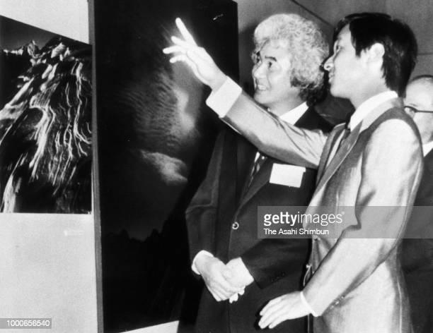 Prince Naruhito visit the Yamanashi Prefecture Museum on September 6 1986 in Kofu Yamanashi Japan