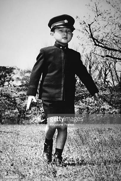 Prince Naruhito with uniform and cap of the Gakushuin Primary School on April 12 1966 in Tokyo Japan