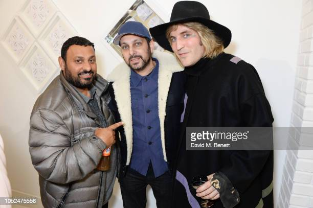 Prince Naseem Hamed Dynamo and Noel Fielding attend a private view of Daft Apeth by Serge Pizzorno of Kasabian at No Ho Showrooms on October 18 2018...