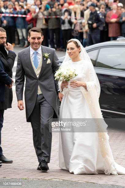 Prince Nicholas of Romania and Princess Alina of Romania arrive at the church prior their wedding at Sfantul IIie church on September 30 2018 in...