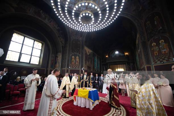Prince Nicholas of Romania and Princess Alina of Romania attend the religious ceremony of their wedding at Sfantul IIie church celebrated by his...