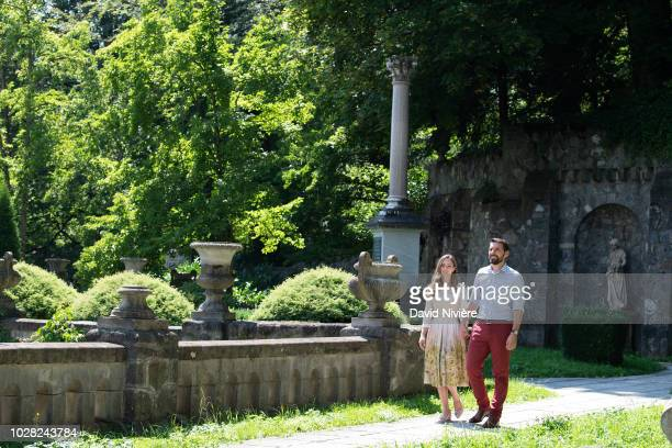 Prince Nicholas Of Romania and Princess Alina Of Romania hold their hand while walking at the Peles Castle on August 05 2018 in Sinaia Romania