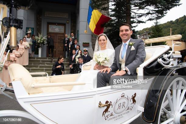Prince Nicholas of Romania and Princess Alina of Romania leave after their wedding at Sfantul IIie church on September 30 2018 in Sinaia Romania