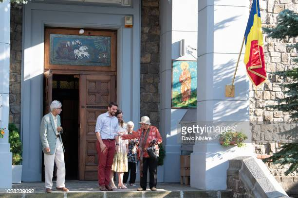 Prince Nicholas Of Romania and Princess Alina Of Romania leave the Stabtul Illie Church on August 05 2018 in Sinaia Romania
