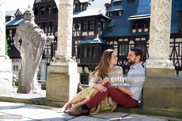 Prince Nicholas Of Romania and Princess Alina Of Romania pose at the Peles Castle on August 05 2018 in Sinaia Romania