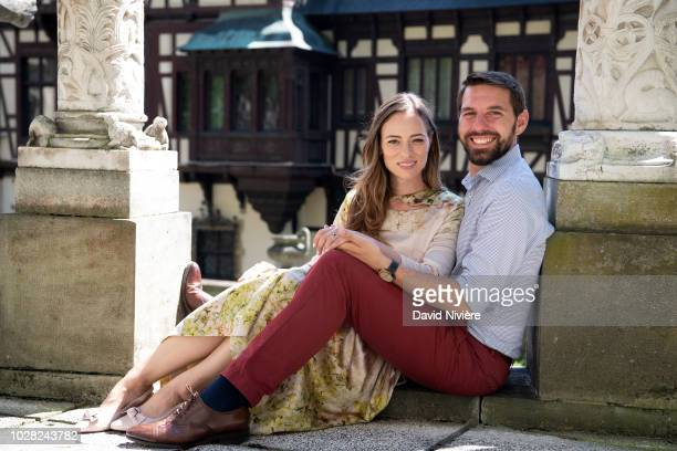 Prince Nicholas Of Romania and Princess Alina Of Romania pose at the Peles Castle on August 05, 2018 in Sinaia, Romania.