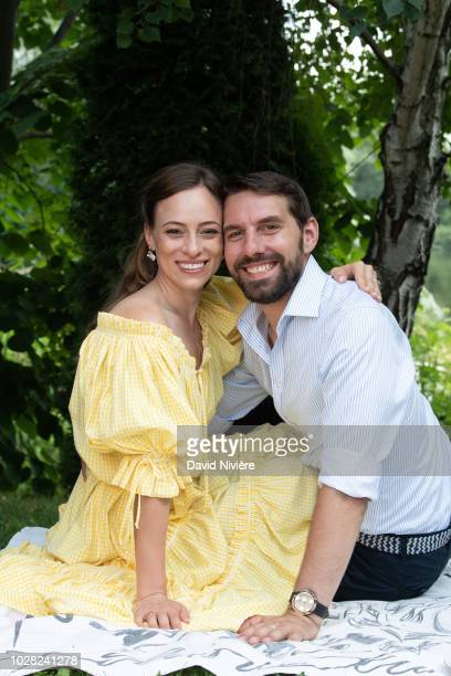 Prince Nicholas Of Romania and Princess Alina Of Romania pose during a summer photo session in a public park on August 04 2018 in Bucharest Romania