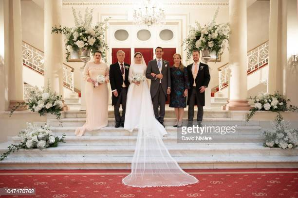 Prince Nicholas of Romania and Princess Alina of Romania pose during the official picture with Princess Elizabeth Karina de Roumanie MedforthMills...