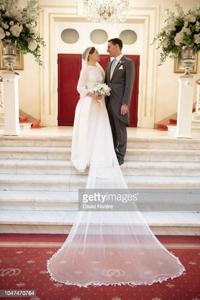 Prince Nicholas of Romania and Princess Alina of Romania pose during the official picture at Casino of Sinaia on September 30 2018 in Sinaia Romania