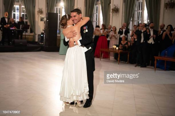 Prince Nicholas of Romania and Princess Alina of Romania opening the ball during their wedding reception at Casino of Sinaia on September 30 2018 in...