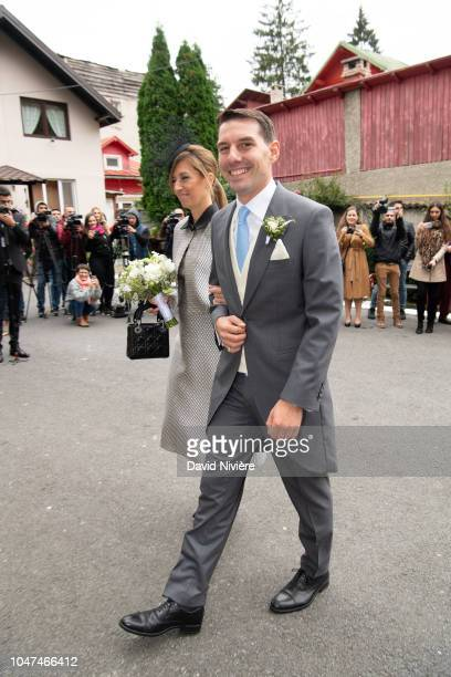 Prince Nicholas of Romania arrives with his godmother Simona Popescu at Sfantul IIie church on September 30 2018 in Sinaia Romania