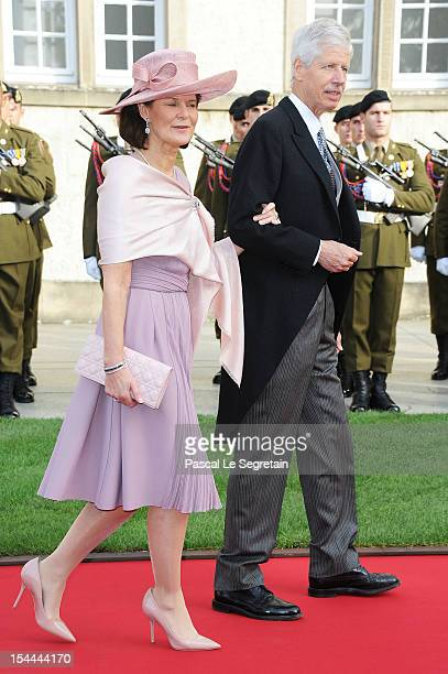 Prince Nicolas and Princess Margaretha of Liechtenstein attend the wedding ceremony of Prince Guillaume Of Luxembourg and Princess Stephanie of...