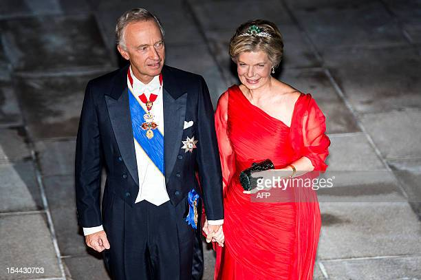 Prince Nicolas of Liechtenstein flanked by Princess Margaretha of Liechtenstein and sister of Grand Duke Henri arrive for a gala dinner at the...
