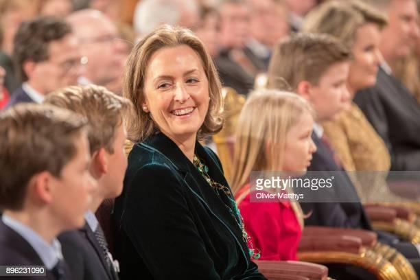 Prince Nicolas, Prince Aymeric, Princess Claire, Princess Elonore of Belgium, Prince Gabriel of Belgium, Queen Mathilde of Belgium and King Philippe...