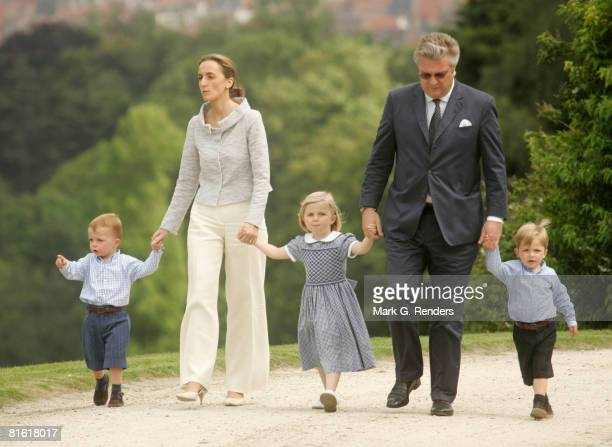 Prince Nicolas Princess Claire Princess Louise Prince Laurent and Prince Aymeric pose during a photo session for the press at Laeken Castle on June...