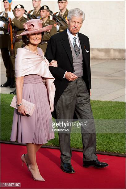 Prince Nicolaus of Liechtenstein and Princess Margaretha of Liechtenstein arrive at the Cathedral before the wedding ceremony of Prince Guillaume to...