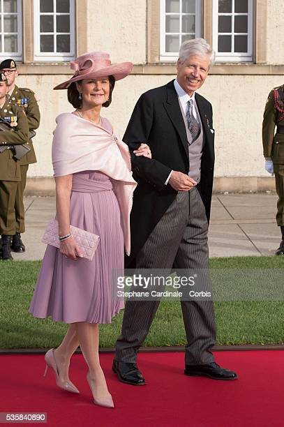 Prince Nicolaus of Liechtenstein and Princess Margaretha of Liechtenstein attend the wedding ceremony of Prince Guillaume of Luxembourg and Princess...