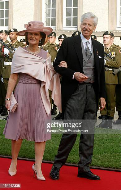 Prince Nicolaus of Liechtenstein and Princess Margaretha of Liechtenstein during the wedding ceremony of Prince Guillaume Of Luxembourg and Countess...