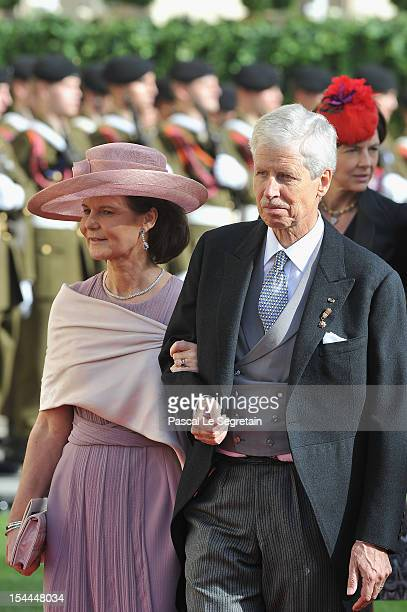 Prince Nicolaus of Liechtenstein and Princess Margaretha of Liechtenstein emerge from the Cathedral following the wedding ceremony of Prince...