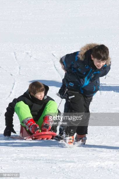 Prince Nikolai and Prince Felix of Denmark pose during an annual family skiing holiday on February 13 2013 in VillarssurOllon Switzerland