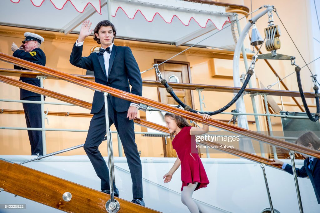 Prince Nikolai of Denmark and Princess Athena of Denmark attend the 18th birthday celebration of Prince Nikolai at royal ship Dannebrog on August 28, 2017 in Copenhagen, Denmark.