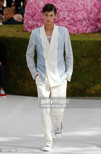 Prince Nikolai of Denmark presents a creation for Dior during the Men's Spring/Summer 2019 collection fashion show on June 23 2018 in Paris