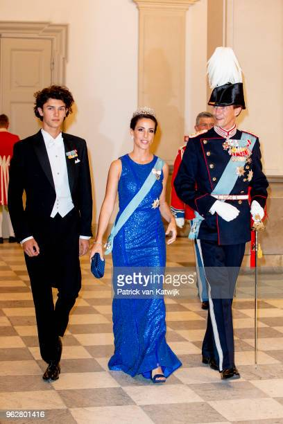 Prince Nikolai of Denmark Princess Marie of Denmark and Prince Joachim of Denmark during the gala banquet on the occasion of The Crown Prince's 50th...