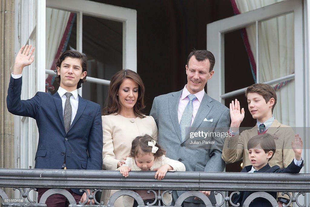 Prince Nikolai of Denmark, Princess Marie of Denmark with Princess Athena, Prince Joachim of Denmark, Prince Henrik and Prince Felix attend Queen Margrethe II of Denmark's 76th Birthday Celebration at Amalienborg Palace on April 16, 2016 in Copenhagen, Denmark