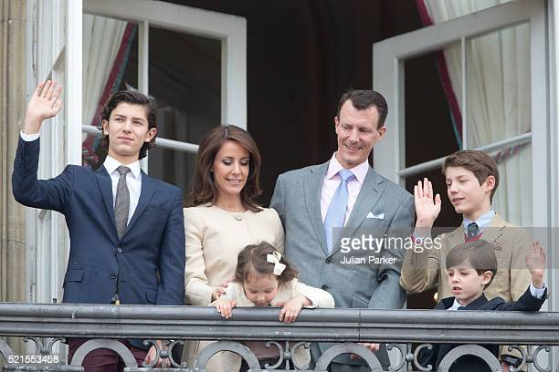 Prince Nikolai of Denmark Princess Marie of Denmark with Princess Athena Prince Joachim of Denmark Prince Henrik and Prince Felix attend Queen...