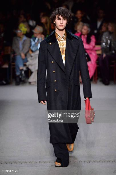 Prince Nikolai Of denmark walks the runway at the Burberry Prorsum Autumn Winter 2018 fashion show during London Fashion Week on February 17 2018 in...