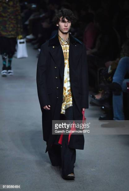 Prince Nikolai of Denmark walks the runway at the Burberry show during London Fashion Week February 2018 at Dimco Buildings on February 17 2018 in...