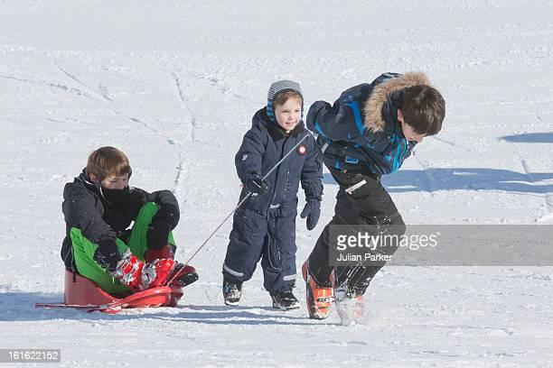Prince Nikolai Prince Felix and Prince Henrik of Denmark pose during an annual family skiing holiday on February 13 2013 in VillarssurOllon...