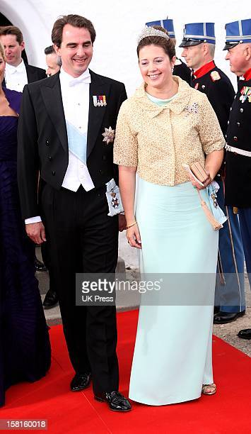 Prince Nikolaos And Princess Alexia Of Greece Attend The Wedding Of Prince Joachim Of Denmark And Miss Marie Cavallier At Mogeltonder Church In...