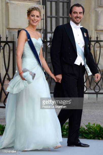 Prince Nikolaos and Princess Tatiana of Greece attend the wedding of Princess Madeleine of Sweden and Christopher O'Neill hosted by King Carl Gustaf...