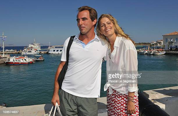 Prince Nikolaos and Tatiana Blatnik pose on the old harbour on August 24 2010 in Spetses Greece