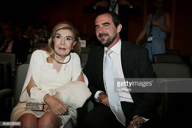 Prince Nikolaos of Greece and Denmark and UNESCO ambassador Marianna Vardinoyannis at the fourth annual Athens Democracy Forum at the Athens Concert...